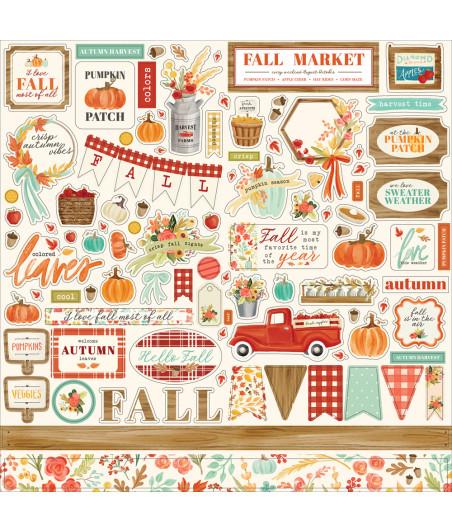 ECHO PARK - Fall Market - 12 x 12 Cardstock Stickers - Elements