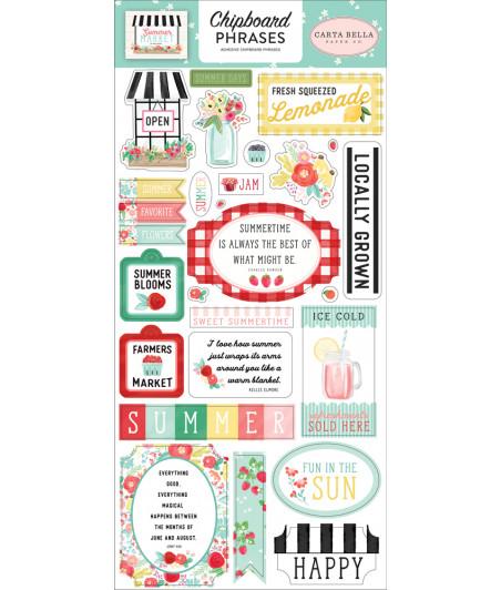 CARTA BELLA - Summer Market - 6x13  Chipboard Phrases