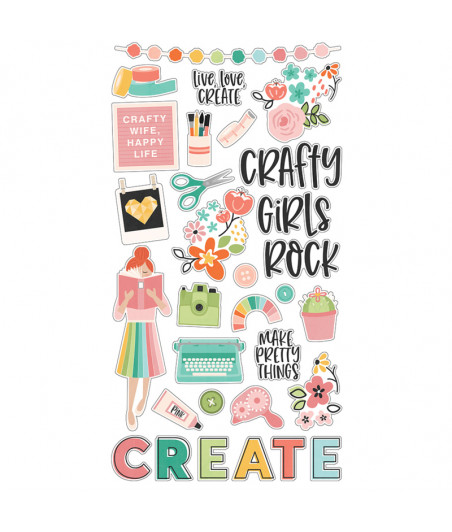 SIMPLE STORIES - Hey, Crafty Girl! 6x12 Chipboard