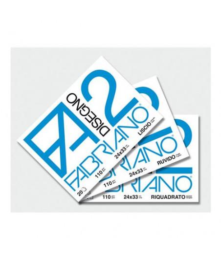 FABRIANO - Blocco disegno F2 24x33 cm  Liscio 20 fogli - 110gr
