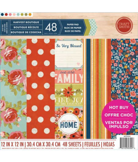 CRAFT SMITH - Harvest Boutique 12x12 Inch Paper Pad