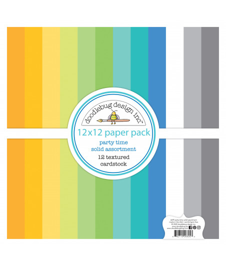 DOODLEBUG - Party Time Textured Cardstock - 30x30 Inch Paper Pad