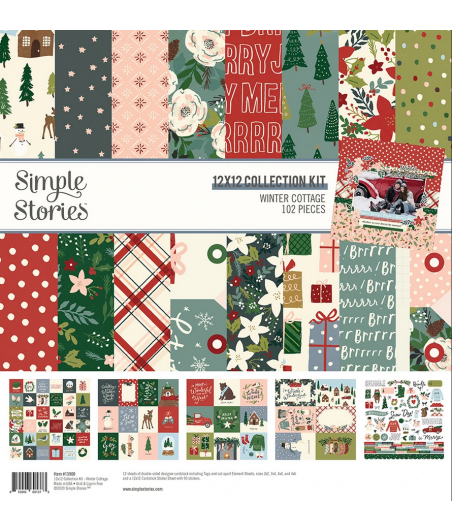 """SIMPLE STORIES - Winter Cottage - Collection Kit 12""""x12"""""""