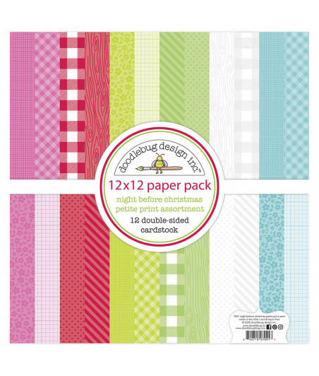 DOODLEBUG Design - Night Before Christmas 12x12 Inch Petite Print Paper Pack