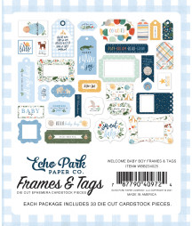 ECHO PARK - Welcome Baby Boy Frames & Tags