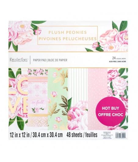 CRAFT SMITH - Plush Peonies 12x12 Inch Paper Pad