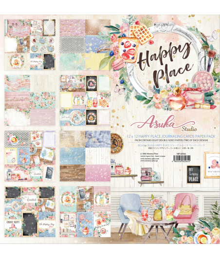 MEMORY PLACE - Happy Place 12x12 Inch Journaling Cards Paper Pack