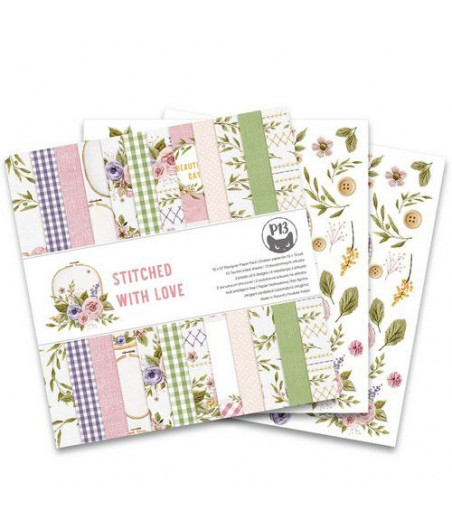 PIATEK - Piatek13 - Paper pad Stitched with love, 12x12''