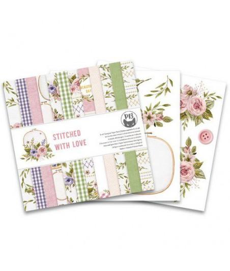 PIATEK - Piatek13 - Paper pad Stitched with love, 6x6''