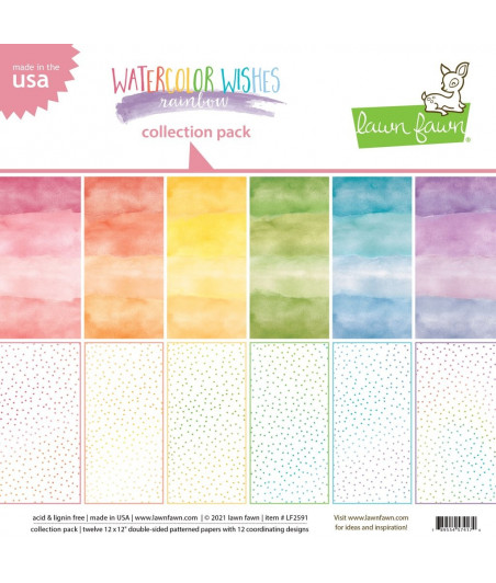 LAWN FAWN - Watercolor Wishes Rainbow 12x12 Inch Collection Pack