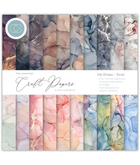 THE ESSENTIAL CRAFT PAPERS - Drops Dusk - 6X6 Inch Paper Pad
