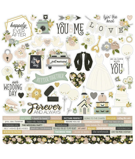 """SIMPLE STORIES - Happily Ever After Cardstock Sticker 12""""X12"""""""