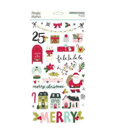 SIMPLE STORIES - Holly Days 6x12 Inch Chipboard