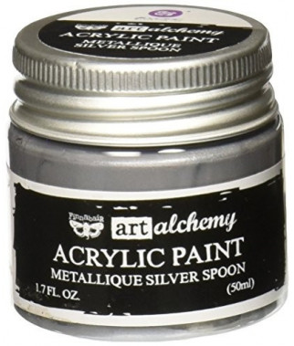 Prima Finnabair Art Alchemy Acrylic Paint -metallique silver spoon