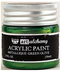 Prima Finnabair Art Alchemy Acrylic Paint -metallique green olive