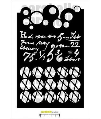 CARABELLE - XL stencil : Bulles, textes et grillage