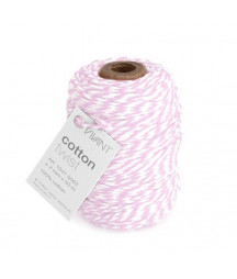 CRAFTEMOTIONS - Twine 2 mm x 50 m  - Vivant Cord Cotton Twist rose / white