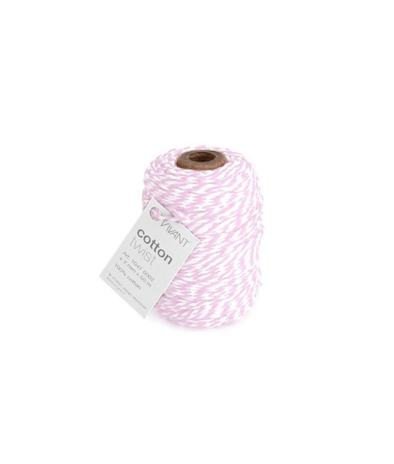 CRAFTEMOTIONS - Twine 2 mm x 50 m  - Vivant Cord Cotton Twist rose / white