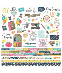 SIMPLE STORIES - Crafty Girl 12x12 Inch Element Stickers