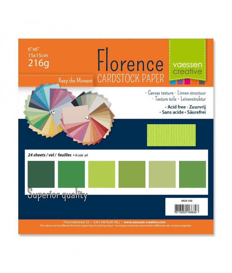 "FLORENCE - Florence cardstock 216g 6x6"" x24 multipack green"
