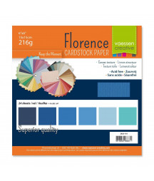 "FLORENCE - Florence cardstock 216g 6x6"" x24 multipack Blu"