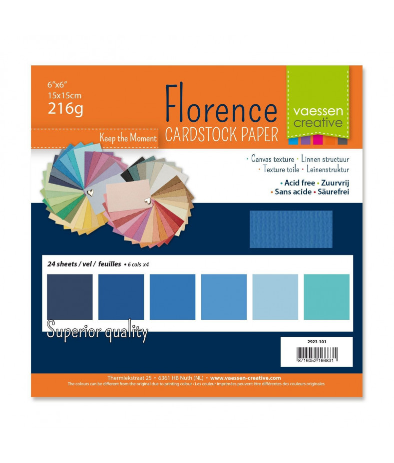 """FLORENCE - Florence cardstock 216g 6x6"""" x24 multipack Blu"""