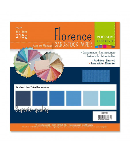 """FLORENCE - Florence cardstock 230g 6x6"""" x24 multipack Blu"""