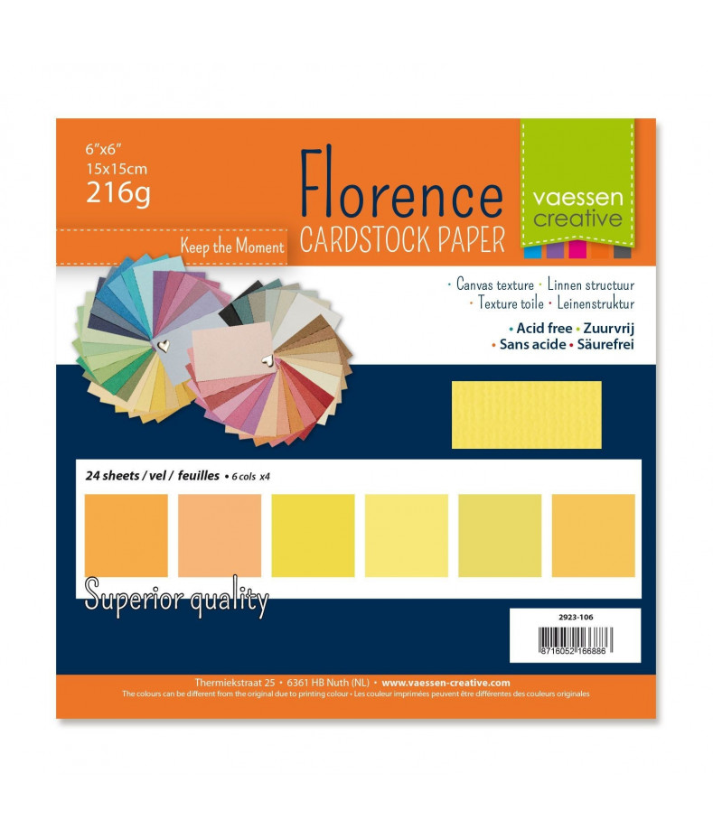 """FLORENCE - Florence cardstock 230g 6x6"""" x24 multipack Yellow"""