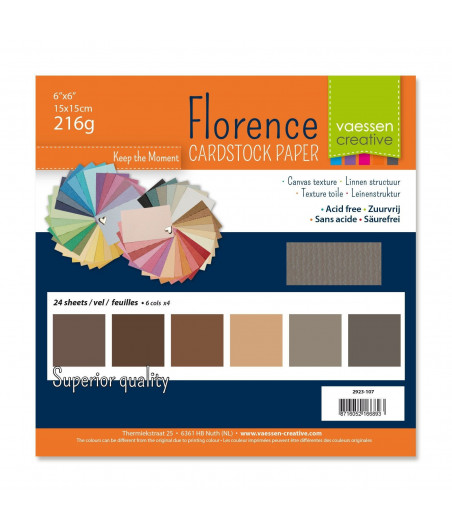 "FLORENCE - Florence cardstock 230g 6x6"" x24 multipack Brown"