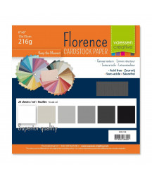"FLORENCE - Florence cardstock 230g 6x6"" x24 multipack Grey"