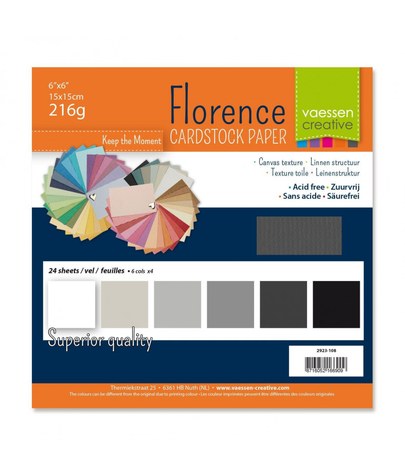 """FLORENCE - Florence cardstock 230g 6x6"""" x24 multipack Grey"""