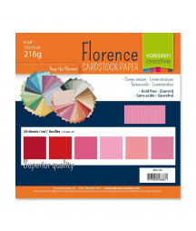 """FLORENCE - Florence cardstock 230g 6x6"""" x24 multipack Rose"""