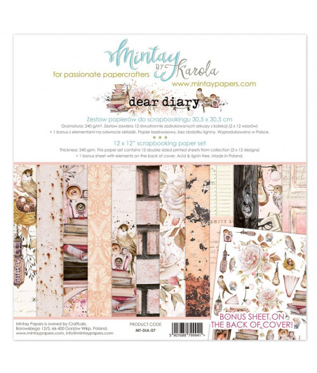 MINTAY BY KAROLA -  Dear Diary - 12x12  Pad Collection Kit