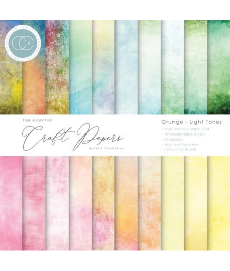 CRAFT PAPERS - Grunge - Light Tones - 6x6 Inch Paper Pad