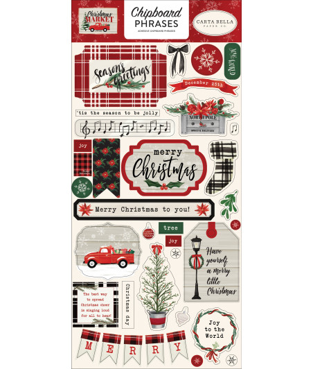 CARTA BELLA - Cristmas Market - 6x13 Chipboard Phrases