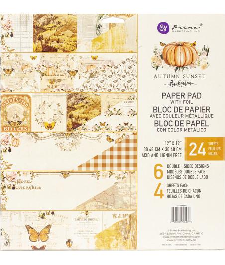 "PRIMA MARKETING - Autum Sunset - 12""x12"" Paper Pad With Foil"